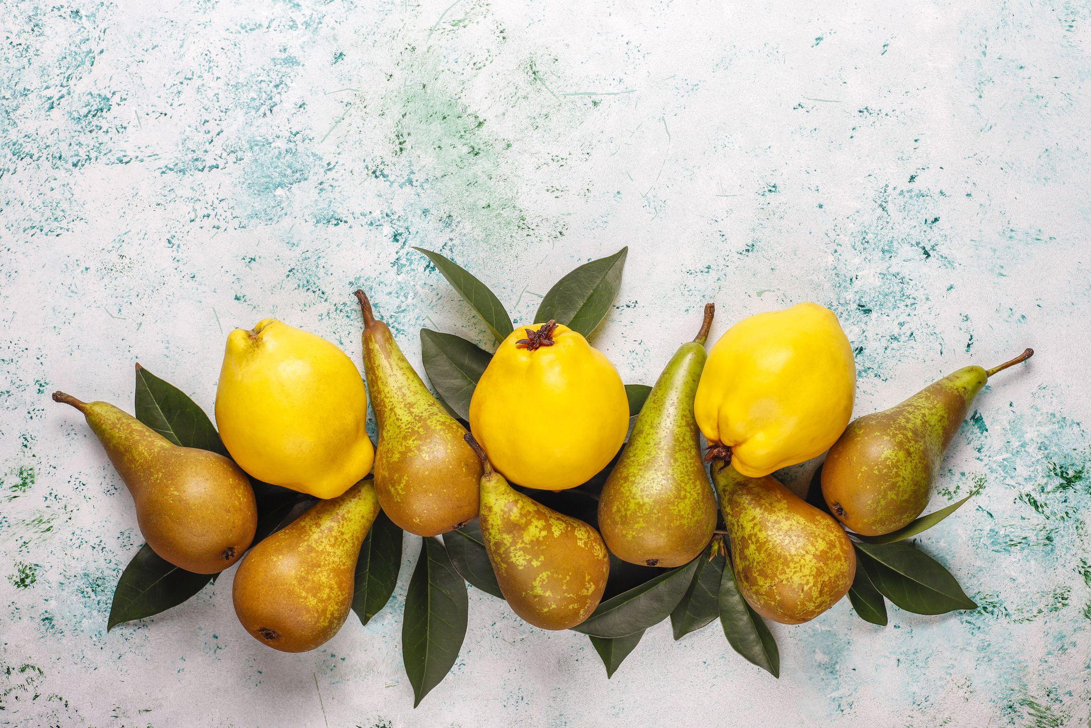 Fresh organic farm fruits,pears,quince,top view